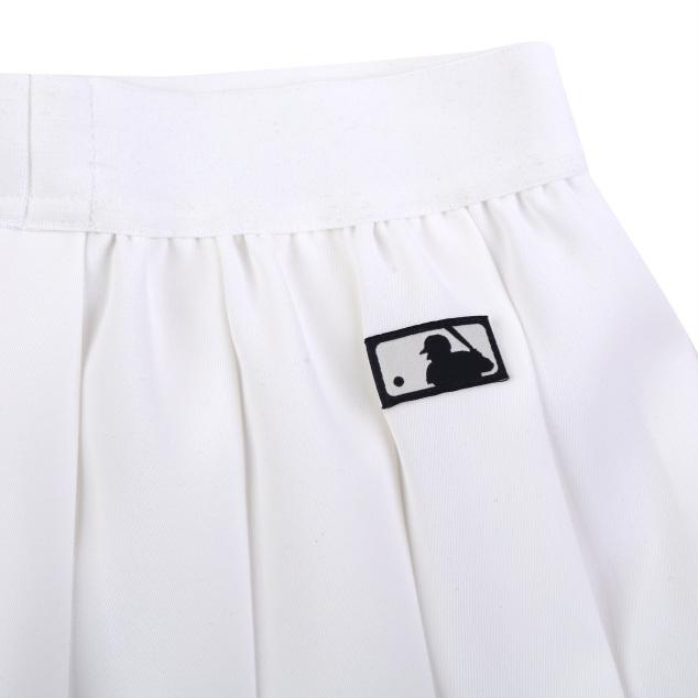 여아 밑단 배색 우븐 플리츠 스커트 MLB