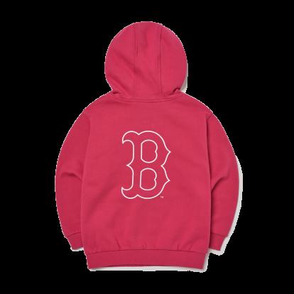 MLB x Disney 도날드덕 빅로고 기모 후드티 보스턴 레드삭스