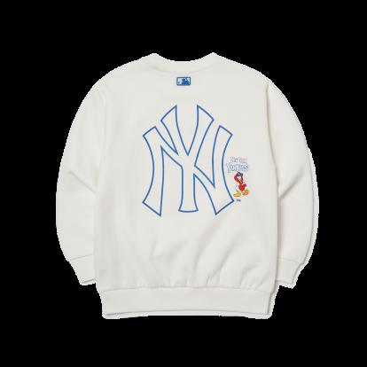 MLB x Disney 도날드덕 앞 프린트 기모 맨투맨 뉴욕양키스