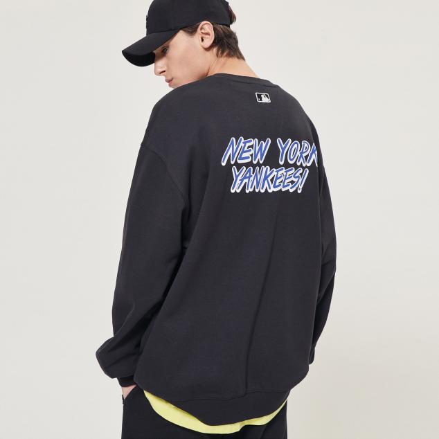 뉴욕양키스 남녀공용 앞뒤 2도팝콘 오버핏 맨투맨