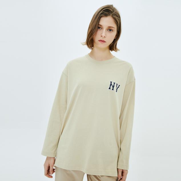 로고 오버핏 긴팔 티셔츠 뉴욕양키스