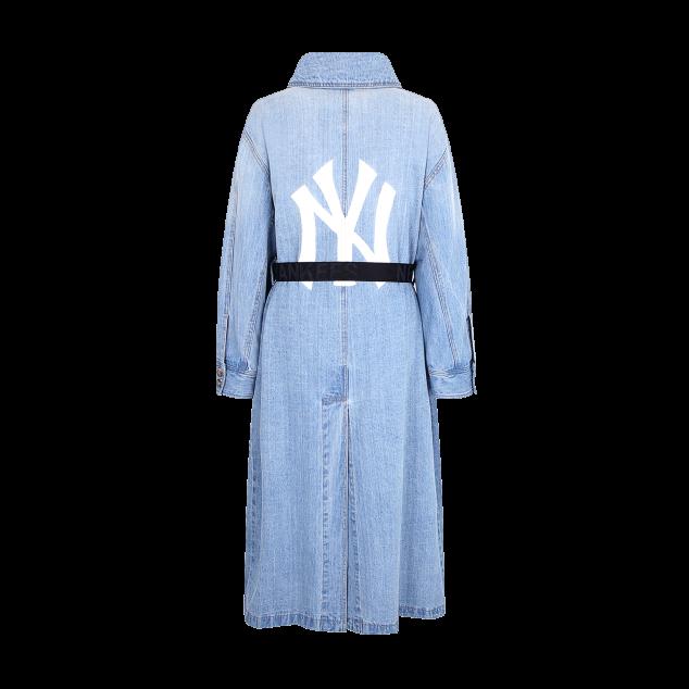 [현아착용]데님 오버핏 트렌치 코트 뉴욕양키스