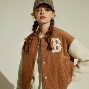 여성 양털 후리스 소매 베이스볼 점퍼 보스턴 레드삭스