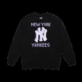 PLAY 픽셀 로고 오버핏 맨투맨 뉴욕양키스