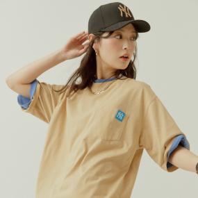 로고 베이직 포켓 라벨 오버핏 반팔 티셔츠 뉴욕양키스