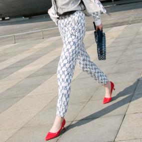 여성 크레용 모노그램 우븐팬츠 (셋업) 뉴욕양키스