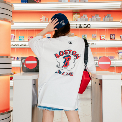 LIKE 팝콘 오버핏 반팔 티셔츠 보스턴 레드삭스