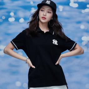 로고 베이직 오버핏 카라 반팔 티셔츠 뉴욕양키스