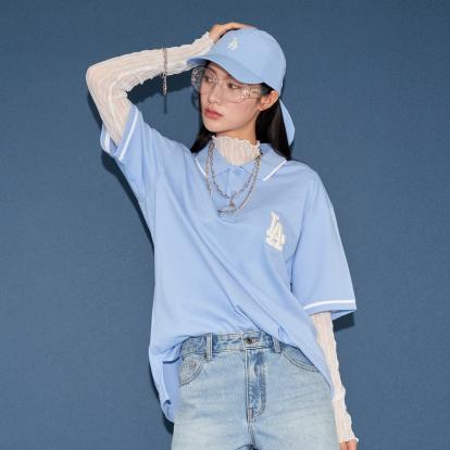 로고 베이직 오버핏 카라 반팔 티셔츠 LA다저스