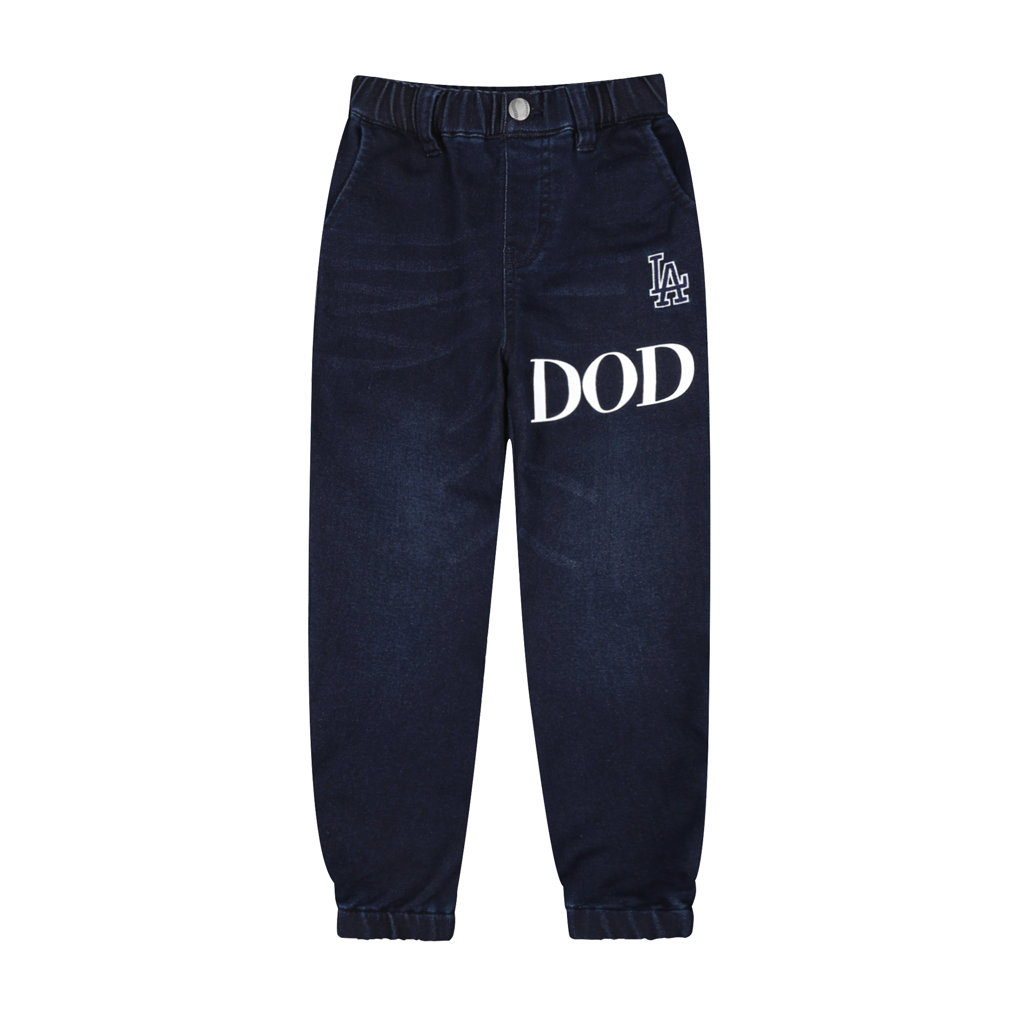 LA DODGERS UNISEX FRONT & BACK LOGO BAGGY FIT JOGGER DENIM PANTS