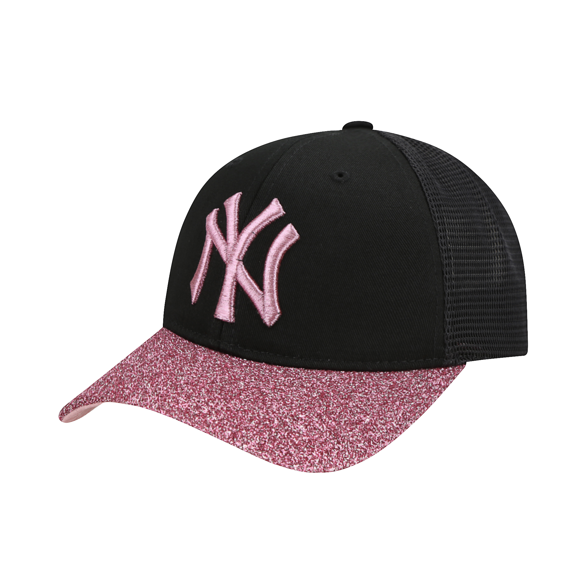 NEW YORK YANKEES SHINY GLITTER VISOR MESH CURVED CAP