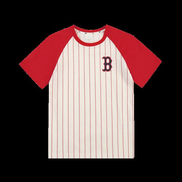 스트라이프 라글란 반팔 티셔츠 보스턴레드삭스