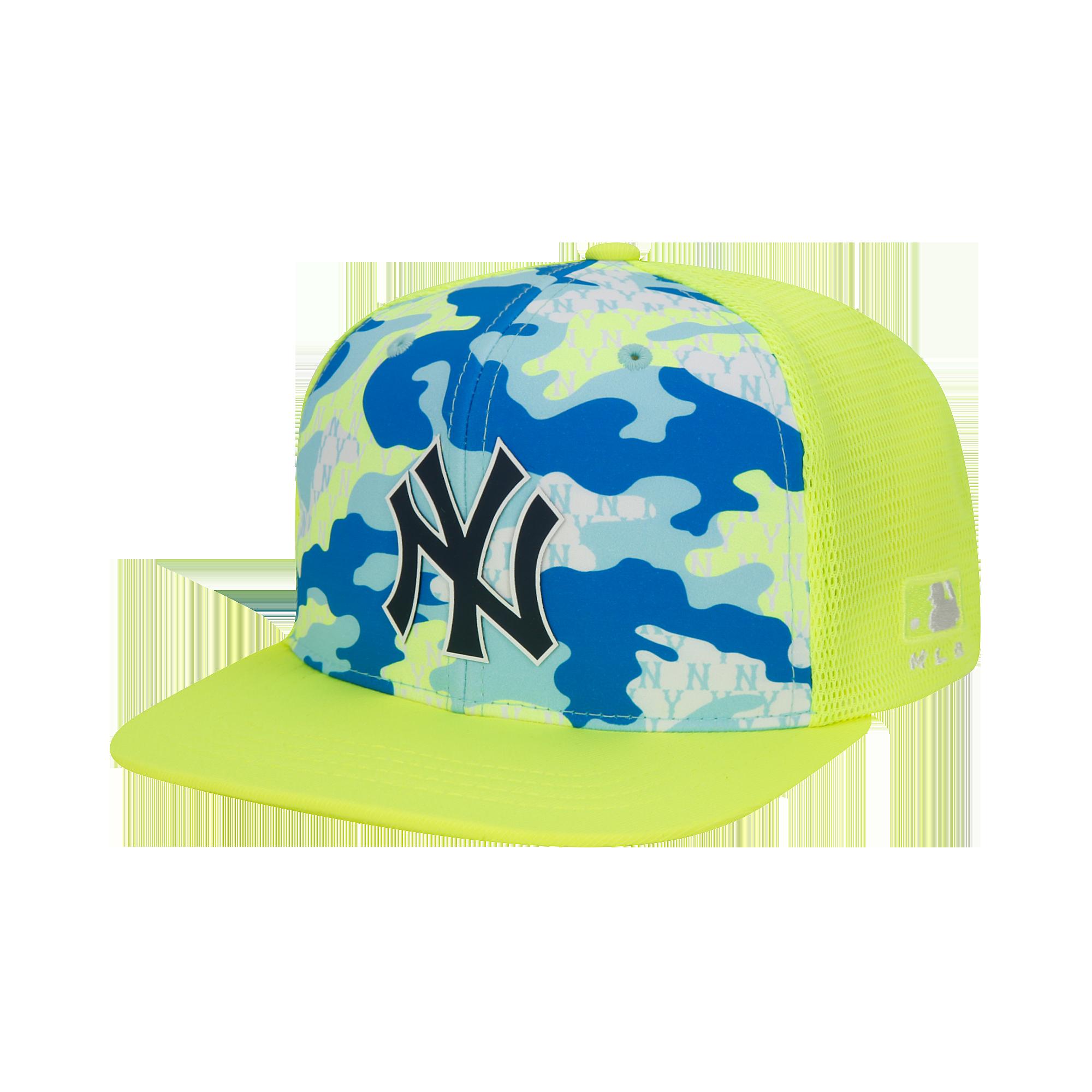 까모배색 평챙 트러커 스냅백 뉴욕양키스