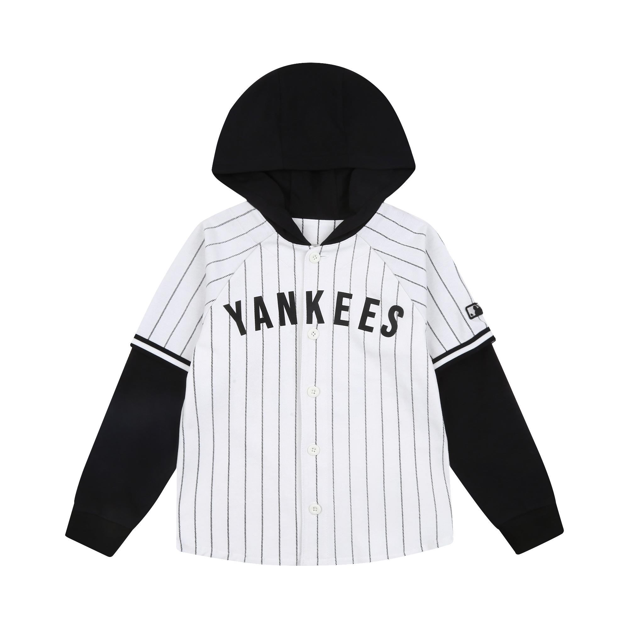 레이어드 후드 스트라이프 베이스볼 저지  뉴욕양키스