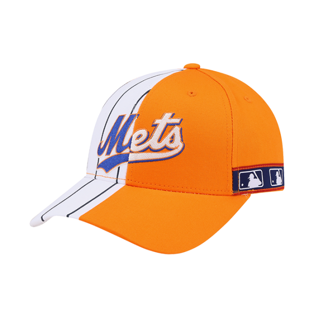 NEW YORK METS HALF STRIPE ADJUSTABLE HAT