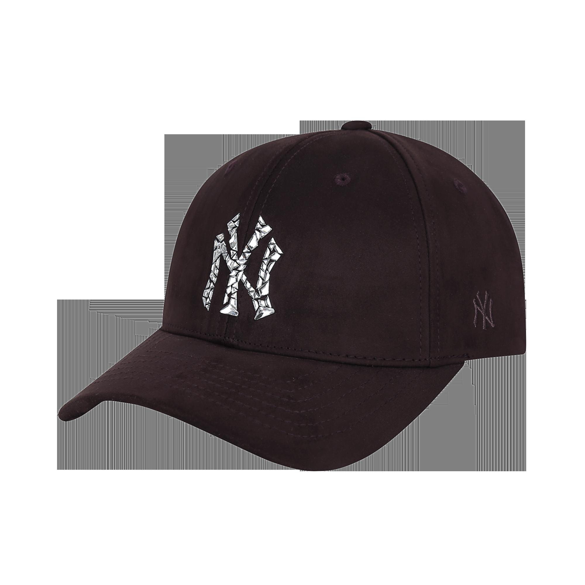 뉴욕양키스 스와로브스키 스웨이드 커브조절캡