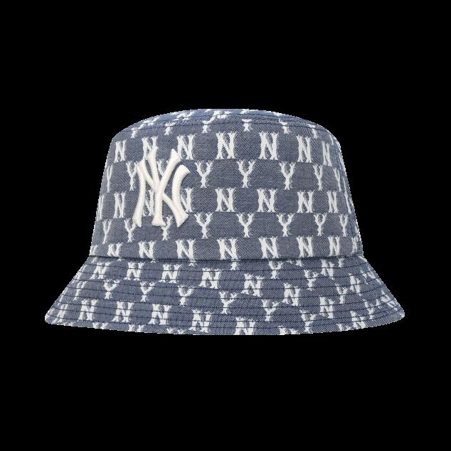 모노그램 블루 자카드 버킷햇 뉴욕양키스