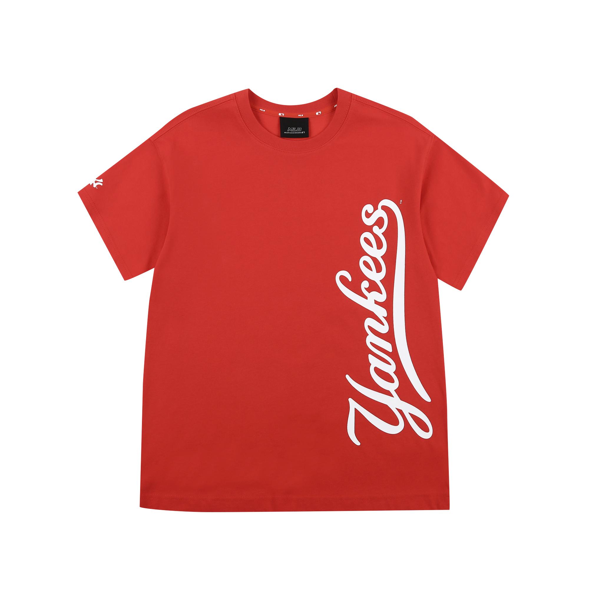베이직 클래식 로고 버티컬 반팔 티셔츠 뉴욕양키스