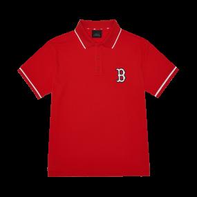 로고 베이직 오버핏 카라 반팔 티셔츠 보스턴 레드삭스